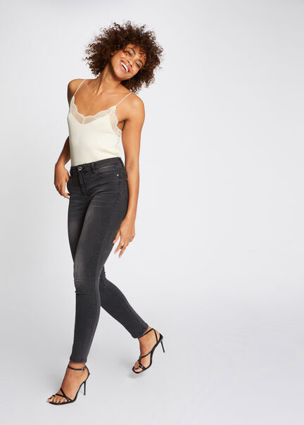 Jeans skinny taille standard gris clair femme