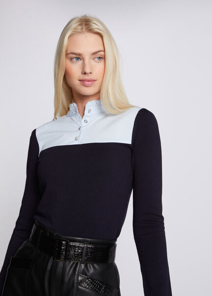 Pull manches longues a col montant marine femme