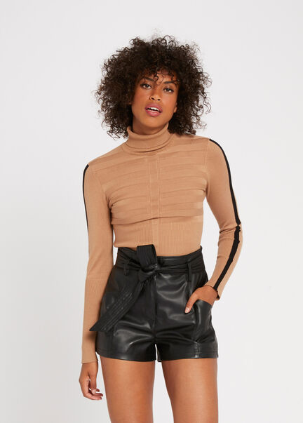 Pull manches longues bande contrastante camel femme