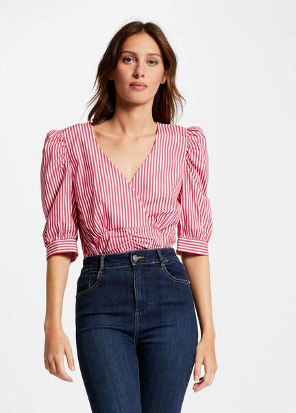 Blouse manches courtes a rayures rose femme