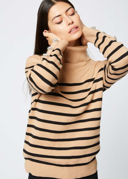 Pull manches longues raye col roule camel femme