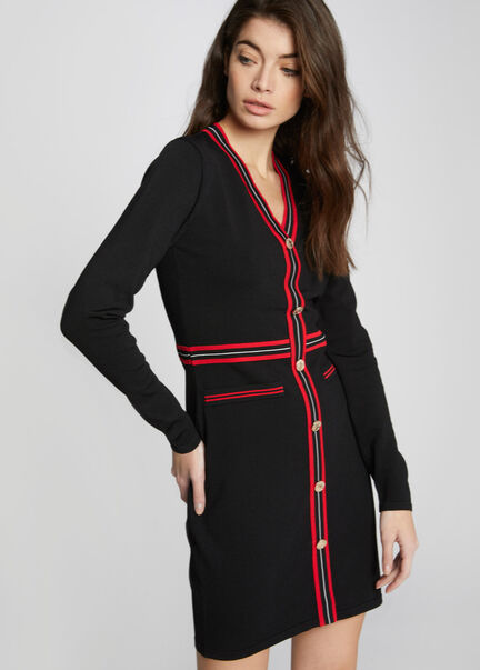 Robe courte ajustee a rayures et boutons noir femme
