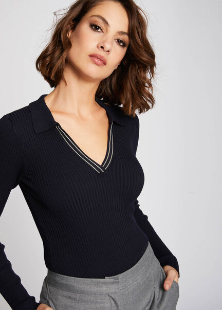 Pull manches longues col a rabat marine femme
