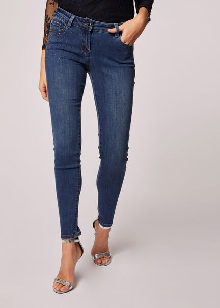 Jeans skinny taille basse a strass jean stone femme
