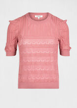 Pull manches courtes a details ajoures rose femme