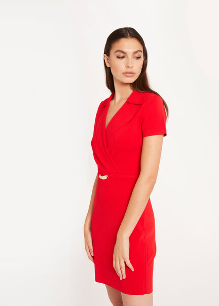 Robe pull droite avec ornement rouge femme