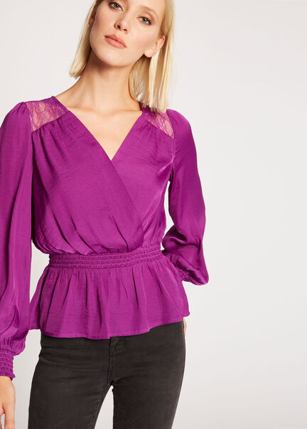 Blouse manches longues croisee smockee violet femme