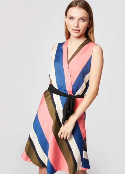Robe courte ceinturee a larges rayures multico femme