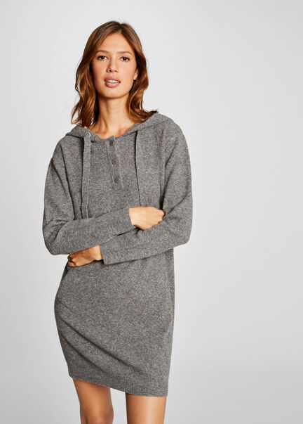 Robe pull droite a capuche gris anthracite femme