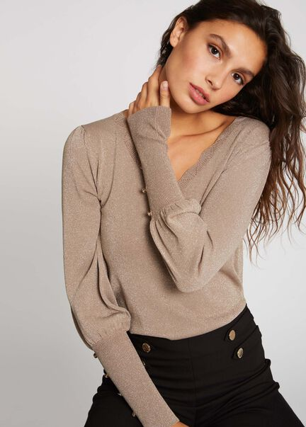 Pull manches longues avec boutons taupe femme