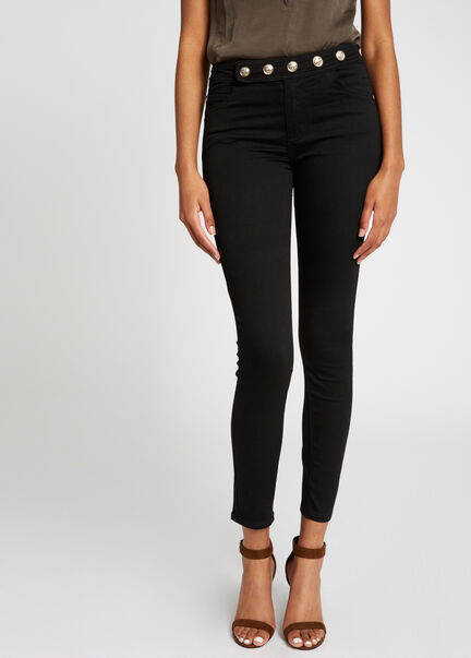 Jeans skinny taille standard a boutons noir femme