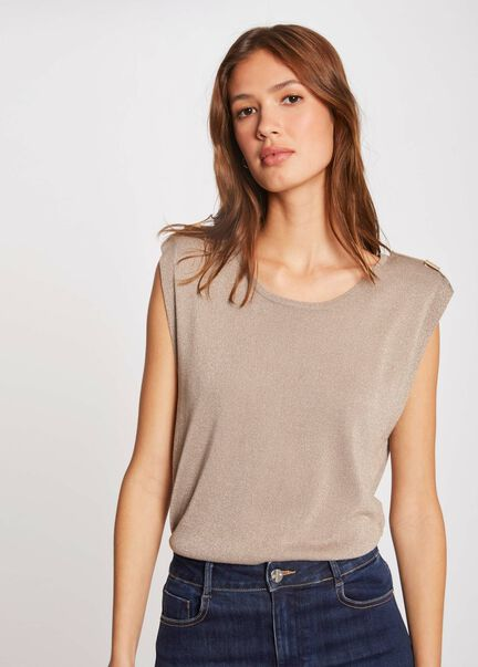 Pull manches courtes a epaulettes taupe femme