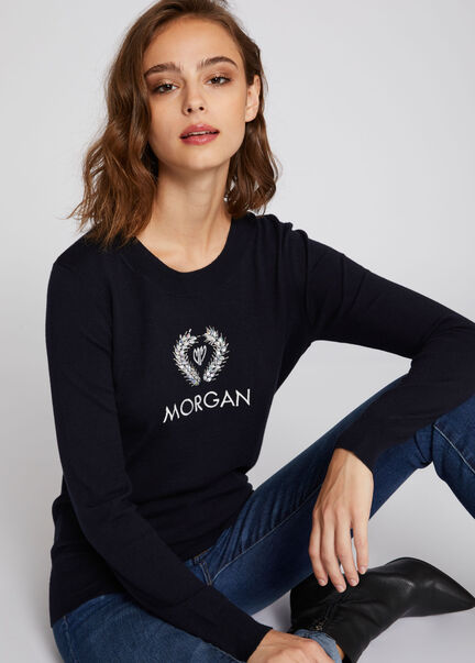 Pull manches longues inscription brodee marine femme