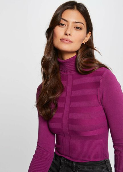 Pull manches longues col roule fuchsia femme