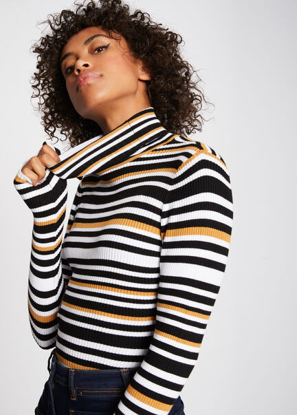 Pull manches longues a rayures col roule ocre femme