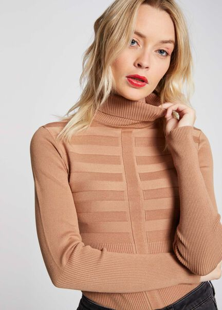 Pull manches longues col roule caramel femme