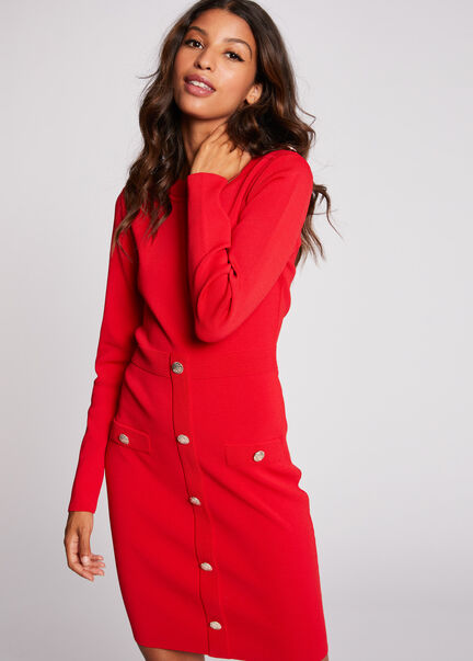 Robe pull ajustee a boutons rouge femme