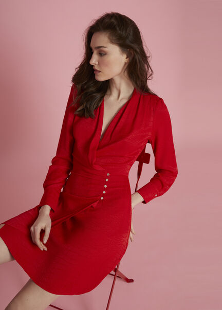 Robe portefeuille texturee rouge femme