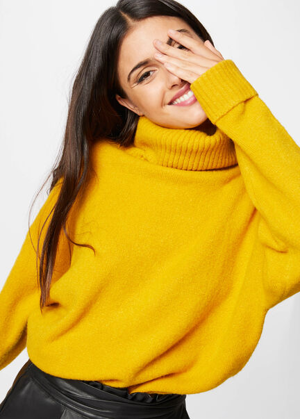 Pull manches longues col roule ocre femme