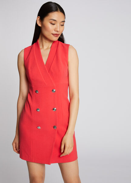 Robe portefeuille sans manches a boutons rouge femme
