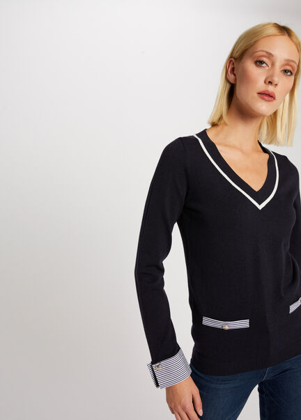 Pull manches longues effet chemisier marine femme