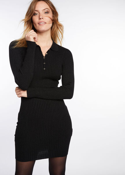 Robe ajustee maille cotelee chinee noir femme