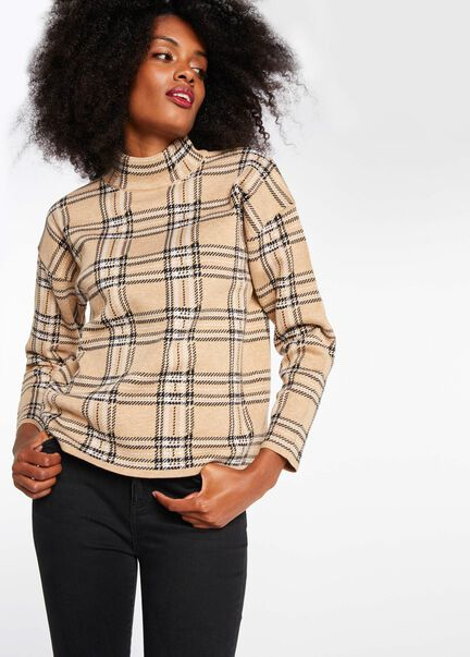 Pull manches longues col montant beige femme