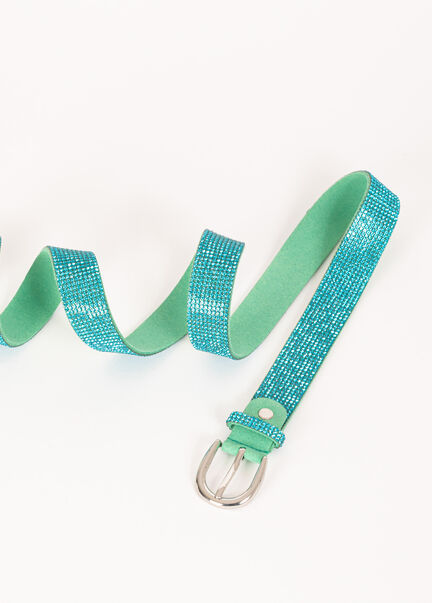 Ceinture a strass turquoise femme