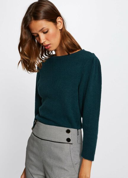 Pull manches 34 avec col rond vert fonce femme