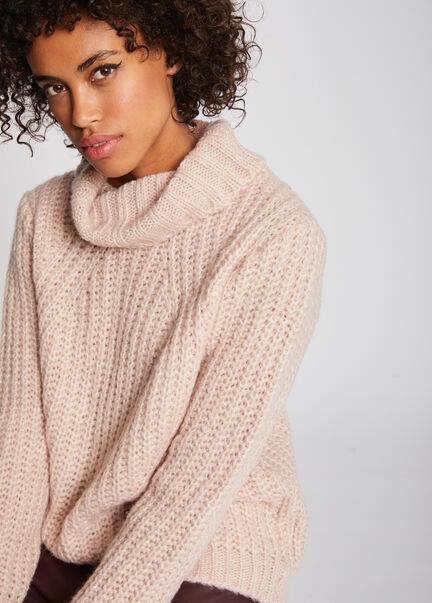 Pull manches longues col roule maille rose femme