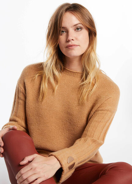 Pull manches longues detail metallique camel femme