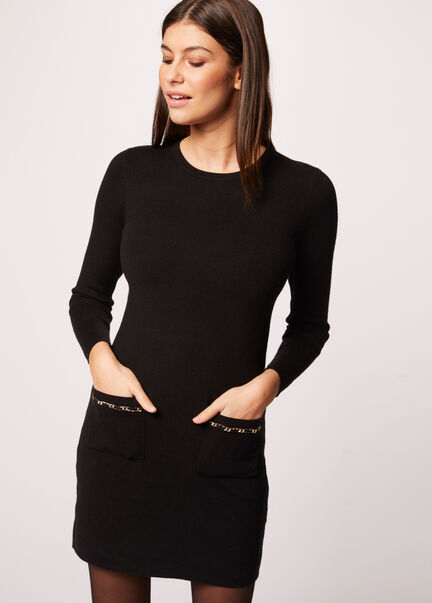 Robe pull ajustee poches details chaines noir femme