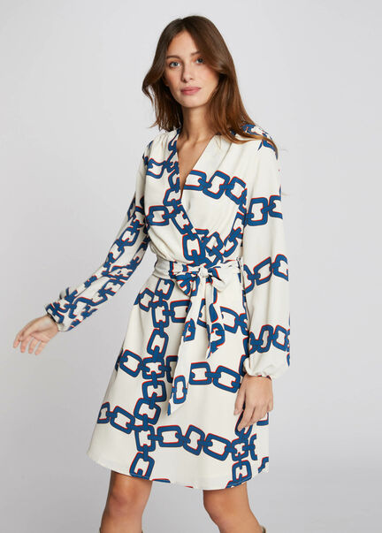 Robe evasee imprime chaine ivoire femme