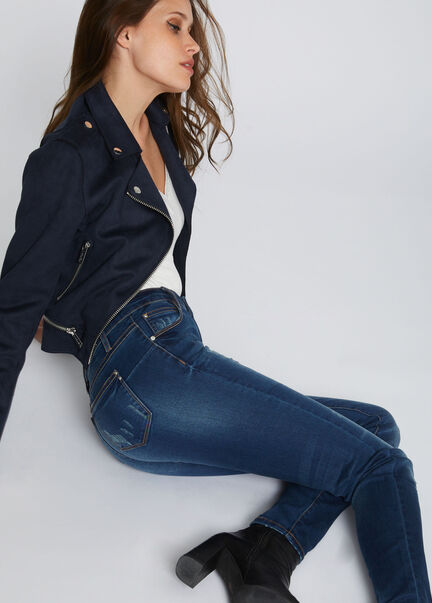 Jeans skinny avec delavage et effet use jean stone femme