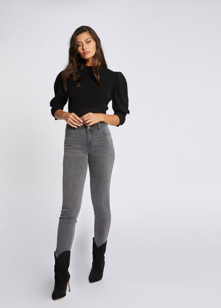 Jeans slim taille standard a poches gris moyen femme
