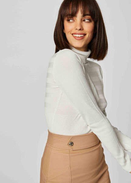 Pull manches longues col roule ecru femme