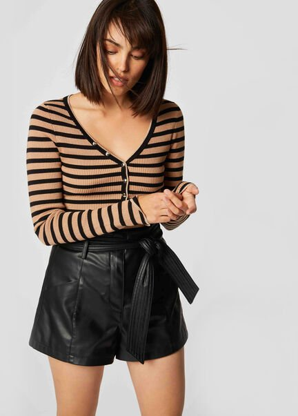 Pull manches longues cotele a rayures caramel femme