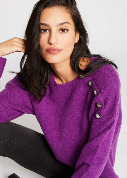 Pull manches longues boutons lateraux violet femme